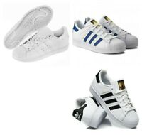 Adidas Boys Kids Shoes Superstar Trainers Sports School Casual Shoes White