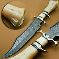 HANDMADE DAMASCUS STEEL HUNTING/BOWIE/DAGGER KNIFE HANDLE CAMEL BONE WITH SHEATH