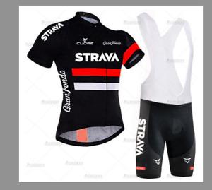 STRAVA Cycling Jersey Men Set Bib Shorts Set 2021 Summer Mountain Bike Bicycle S