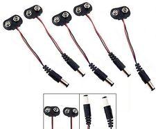 S464 - 5 pièce Batterie agrafe avec câble + DC Crampon 2,1mm Adaptateur 9V