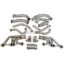CXRacing Twin Turbo Header Manifold Downpipe Kit For 63-67 Chevelle Nova SBC V8