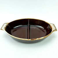 Vintage McCoy Brown Drip Pottery Divided Au Gratin Dish 1835 Handled Serve Bowl