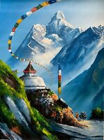 MOUNT EVEREST VIEW FROM BASE CAMP, ORIGINAL ACRYLIC PAINTING ON CANVAS 22 x 30""