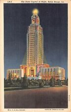 State Capitol at Night Baton Rouge Louisiana Vintage Postcard L01