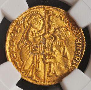 1382, Venice, Doge Antonio Venier. Gold Zecchino Ducat Coin. (3.54gm) NGC MS-62!