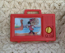 Vintage Ideal Disney Mickey Mouse Plastic Musical TV Wind Up Carry Toy Works
