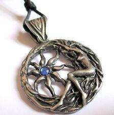 Brigit's Sun Charm Goddess Fire & Sun Talisman Amulet 100% Pewter & Black Cord