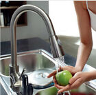 Pull Out Kitchen Faucet Dual Sprayer Swivel Spout Sink Mixer Tap Brushed Nickel
