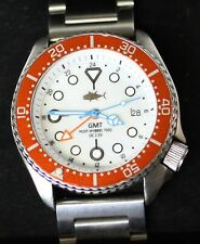 Vintage SEIKO diver 7002 GMT mod SWISS dual-time w/White Mother of Pearl dial SS