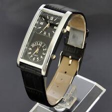 SOKI Black Dual Time Dial Quartz Analog Womens Leather Wrist Watch For Travel