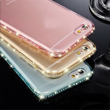 Ultra Thin Transparent Crystal Diamond Soft TPU Back case cover For Apple iPhone
