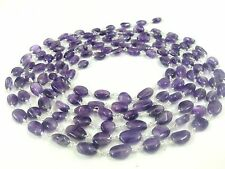 5 Feet Amethyst Smooth Oval 6x8-7x9mm Beads, Rosary Beaded Chain Silver Plated