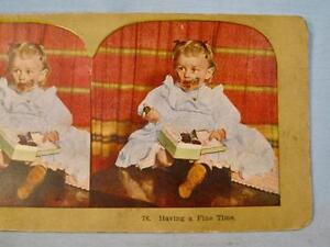 Stereoview Having A Fine Time Baby Girl In Blue Dress Eating Chocolate Color (O)