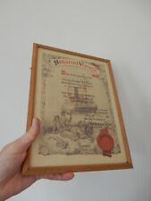 More details for period framed certificate  booth line 1951 rms hilary  amazon steamer ww2 vet