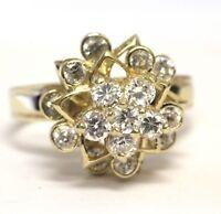 14k yellow gold round cubic zirconium cz flower spinner ring 5.7g vintage