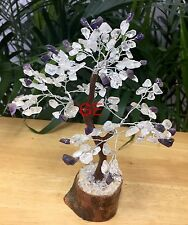 "8"" Amethyst Clear Quartz Tree Gemstone Crystal Gem Tree Feng Shui Luck Gift."