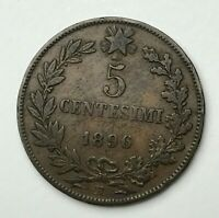 Dated : 1896 - Italy - Five Centesimi - 5 Cent Coin - Umberto I