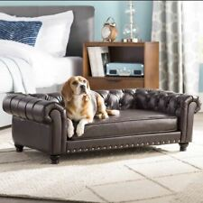 Luxurious Brown Leather Large Elevated Rectangle Dog Sofa Bed Chair