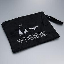 Plush Velvet Graphic Design Zipper Lining Water Resistant Inside Wet Bikini Bag