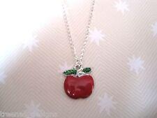 Cute *RED APPLE GREEN LEAF* Enamel Charm SP Necklace ROCKABILLY Teacher Gift Bag