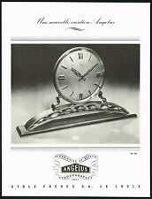 1940's Vintage 1945 Stolz Freres Angelus Clock Swiss Watch Mid Century Print AD
