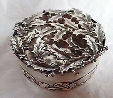 c1912 ANTIQUE Edwardian SILVER Pot Pourri TRINKET BOX W COMYNS Christmas Holly