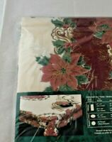 """Trim A Home Fabric Christmas Tablecloth Poinsettia Red 60"""" X 102"""" Oblong"""
