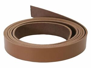 """Caramel Brown Vegetable Tanned Leather Strips, 72"""" in Length, Premium Grade Leat"""