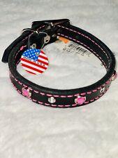 "Premium Black Leather Dog Collar W/Pink Rhinestones & Stitching 12"", Made in USA"