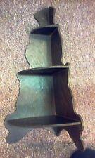 Vintage Handcrafted Dark Brown Wood Corner Wall What Not Shelf w/ Three Shelves