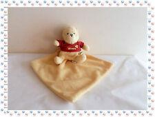L - Doudou Peluche  Winnie Jaune Rouge avec son Carré  Disney Baby