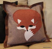 Fox Throw Pillow Cover Designer Applique Felt Beautiful Brown Accent