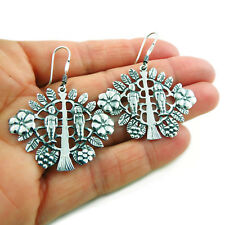Adam and Eve Tree of Life Large 925 Sterling Silver Earrings Gift Boxed