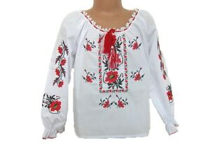 Ukrainian shirt Red embroidery girls vyshyvanka