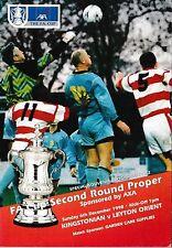 Football Programme>KINGSTONIAN v LEYTON ORIENT Dec 1998 FAC