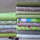 "Cotton 14 Assorted Green Pre Cut Charm 10"" Squares THIN Quilt Fabric"
