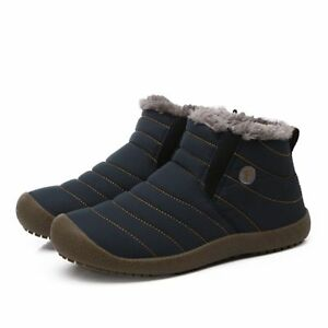 Mens  Boys Winter Snow Ankle Boots Fur Lined Casual Shoes Outdoor Slippers #
