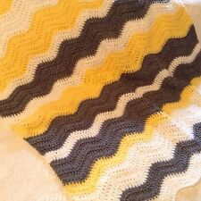 New Handmade Crochet Chevron Gray Yellow White Lap Throw Or Baby Afghan