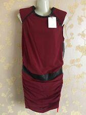 IRO Women's Burgundy  Leather Trim Sheath Silk Dress Size:36 BNWT
