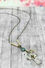 Necklace Faith, Hope, Love, Trust Cross Charm  - Handcrafted