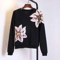Big Flower Sequins Sew-on Embroidered Patch Floral Motif Applique Cloth Unique
