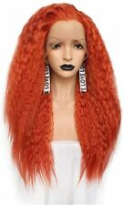 Women's Orange Red Long Deep Wavy Curly Synthetic Lace Front Wigs Cosplay Party