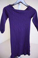 Arden B Nylon Blend Purple Floral Long 3/4 Sleeve Knit Top Size - Medium - Large