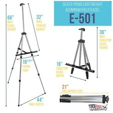 """65"""" Sturdy Silver Aluminum Tripod Artist Field and Display Easel Stand"""