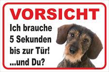 Dackel Langhaar rot Schild Vorsicht Leben nach dem Tod 15x20-40x60cm