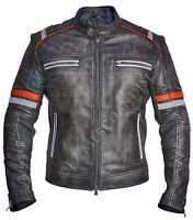 Mens Motorcycle Cafe Racer Biker Retro Moto Distressed Leather Jacket
