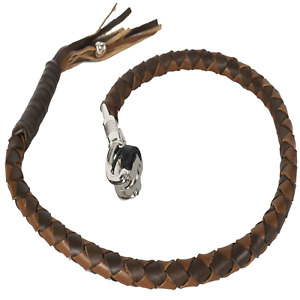 Motorcycle Get Back Whip Leather 42 Inch Long Two Tone Brown Harley Universal