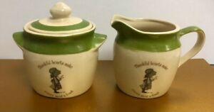 HOLLY HOBBIE ~ SUGAR & CREAM PITCHER ~ GREEN AND IVORY ~  70's?