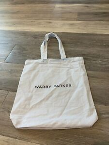 WARBY PARKER ( Sun Glasses/ Glasses) Fabric Tote Bag White W/ Logo