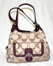 Coach 24742 Campbell Tan Signature Sateen Jacquard Burgundy Leather Hobo Bag